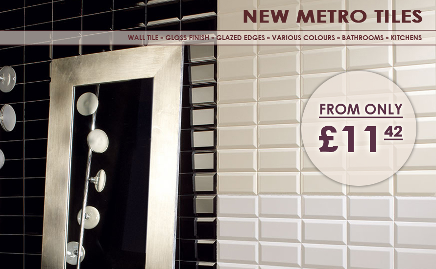 The New Metro has an extensive range of ceramic wall tiles with shiny gloss finish and glazed edges.